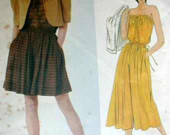 "Vogue Dress Pattern No 2899 UNCUT Vintage 1980s Size 8 Bust 31 1/2"" American Designer Perry Ellis Camisole Short Jacket and Culottes"
