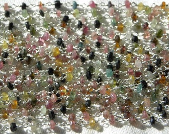 Tourmaline Rosary Chain 1 1/2 Ft Sterling Silver Wire Rosary Chain 3.5mm Semiprecious Faceted Gemstone Beads Take 20% Off Jewelry Supplies