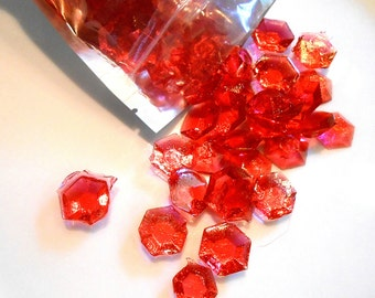 July Birthstones, Rubies, Edible Gems, Candy Gems, Birthday Cake Decorations, Hard Candy, Red
