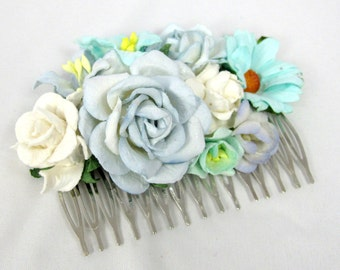 Mint and light blue Floral Haircomb Flower Fascinator Vintage Wedding Party Bridal Accessory Bridesmaid statement