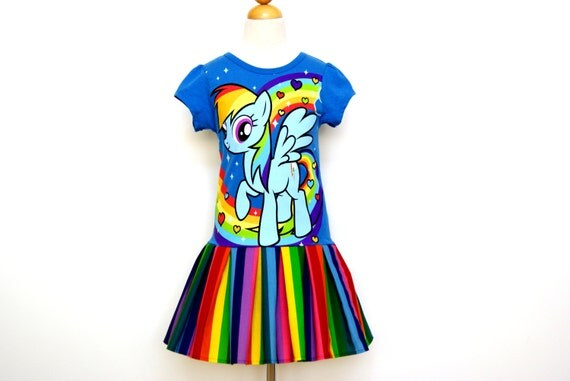 Rainbow Dash My Little Pony MLP Inspired Cap Sleeve Dress Made to ...