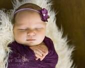 Newborn Headband...Hydrangea Flower Headband...Baby Bows...Infant Headband...Baby Girl Headband...Photo Prop...Purple Flower Headband