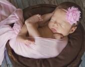 Pink Shabby Chic Headband...Newborn Headband...Baby Girl Headband...Baby Bows...Photo Prop...Shabby Rosette...Newborn