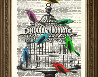 "BIRDCAGE + FREE BIRDS: Vintage Dictionary Book Page Art Print Selection (8 x 10"")"