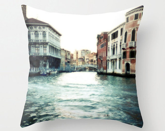 Italy Sofa Pillow, Grand Canal Accent Pillow, Blue Red Throw Cushion Cover - 2 sizes available