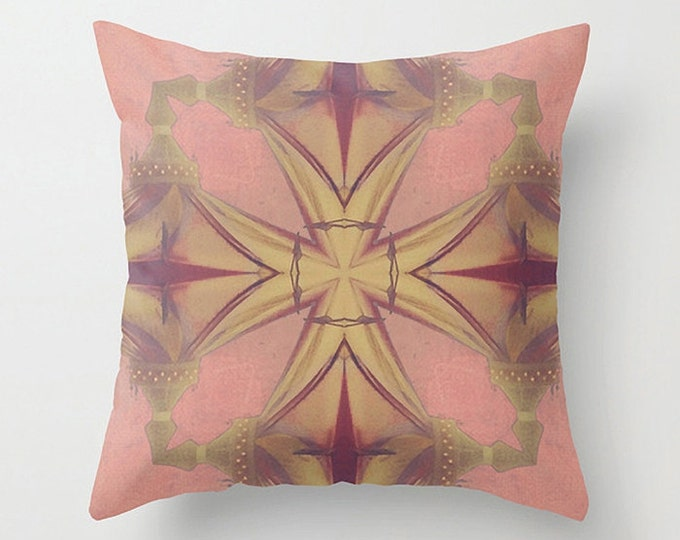 Graphic Design Abstraction Pillow Case, Pinks Golden Yellow Ruby Red - 18x18 24x24 Cushion Cover only - Home Decor Throw Pillow