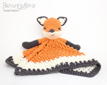 Foxy Fox Lovey CROCHET PATTERN instant download - blankey, blankie, security blanket