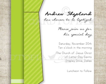 BAPTISM INVITATION LDS Tie Boy Baptism Priesthood Preview Invitation Picture Latter-Day Saint Mormon diy Printable Personalized - 156473899