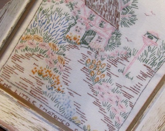 Embroidery Cottage Scene DIstressed White Frame Vintage Handmade