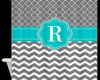 Gray White Chevron Quatrefoil Monogram Fabric Shower Curtain - You choose accent color