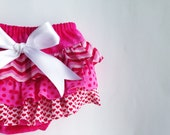 Baby Girl Bloomer-Pink Easter diaper cover-ruffle diaper cover-ruffle bloomer-Pink Polka dot-Spring-Baby Girl Easter-Photo Prop