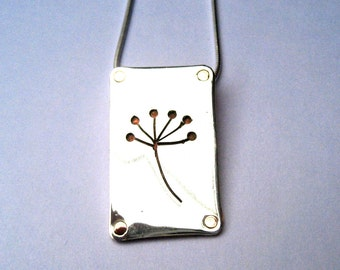 Cow Parsley pendant in Sterling Silver and Copper