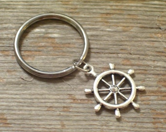 Silver Nautical Ship Wheel Keychain, Sailor Key Chain, Father's Day, Antiqued Silver Ship Wheel Charm, Chrome Plated Keychain Key Ring