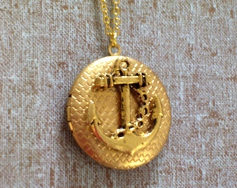 Gold Plated Nautical Locket, Gold Anchor Locket , Sailor Locket Necklace