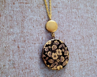 Double Locket, Brass Mini Locket and Black Floral Brass Art Locket Necklace, Flower Locket, Gold Plated Chain