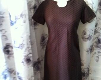 Vintage chocolate brown summer Basket weave work dress