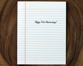 First Anniversary Card - Paper Anniversary - Lined Foolscap Paper Card