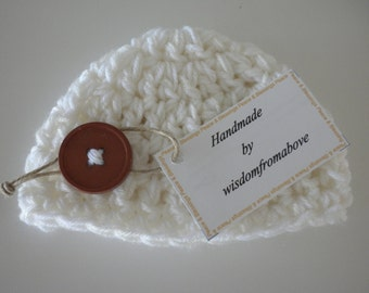Baby Hat Crochet Thick Newborn Photography Prop Double White with button