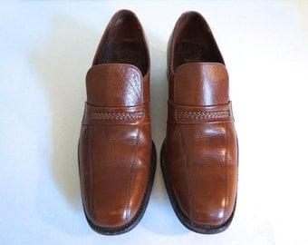 1960's Vintage Men's Brown Leather Braided Loafers Size 10 1/2 - Florsheim Men's Shoes US Size 10.5