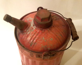 Rustic Red Galvanized Gasoline Can Vintage