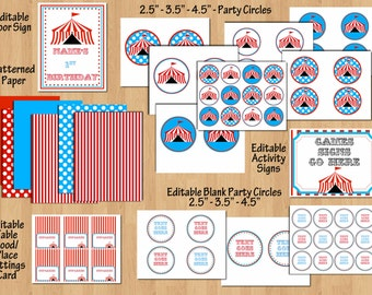 Carnival Party Package, Circus Birthday Party Package coed Invite Thank You, Signs, Banners, Cupcake Toppers PERSONALIZED Editable Files