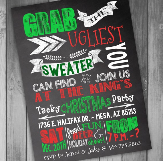 ugly christmas sweater party invitations etsy  gray cardigan sweater, Party invitations