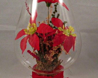 Christmas Holiday Glass Decor Red Poinsettia Red Bows Vintage
