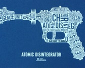 Atomic Disintegrator Blue/White - Silkscreen Typography Ray Gun Diagram Labeled Parts - DesignerDad Collaboration