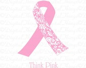 Breast Cancer Ribbon Awareness Think Pink Printable Digital Download for for for Iron on Transfer Fabric Pillows Tea Towels DT5001