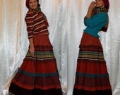 Custom order for Susie Plus size Colorful Tiered Ruffle Boho Hippie Gipsy Maxi Autumn Winter Long Skirt with lining