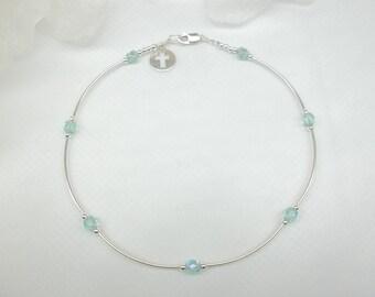 Blue Anklet Aquamarine Ankle Bracelet Cross Anklet Crystal Ankle Bracelet Crystal Anklet 925 Sterling Silver Anklet BuyAny3+1Free