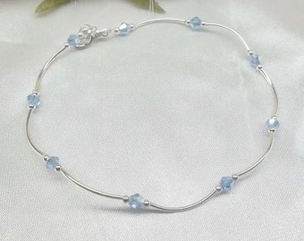 Something Blue Crystal Sapphire Anklet Light Sapphire Silver Anklet With Swarovski Elements 925 Sterling Silver or Plate Buy3+1Free
