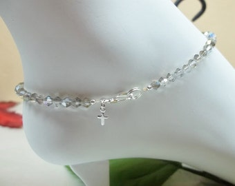 Cross Anklet Silver Crystal Anklet Silver Cross Ankle Bracelet Sterling Silver Anklet Christian Gift Easter Jewelry BuyAny3+1 Free