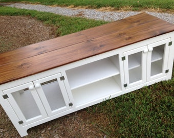 Rustic TV Stand, White Media Console