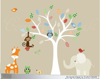 White tree wall decal, tree nursery wall decal, nursery tree decal design, baby wall sticker decal, wall decal sticker, owls decals