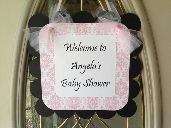 Simple Elegance Collection- Black Baby Shower Door Sign Black Pink and White Damask
