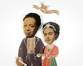 Frida Kahlo and Diego Rivera Articulated Art Paper Dolls by Dubrovskaya. Handmade and hand painted gift.