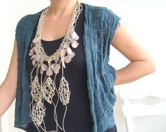 Fiber art statement bold/crochet statement natural/wearable art