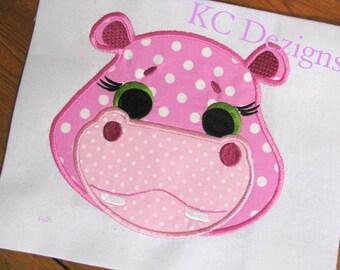 Cute Hippo Face Machine Applique Embroidery Design - 4x4, 5x7 & 6x8