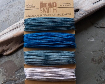 Beadsmith 100% Natural Hemp Cord - Aqua Shades, 1mm - 20lb Cord, 4 X 9.1m/30ft Card (IND1C55)