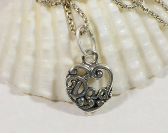 Father Gift Pendant Dad Filigree Heart Sterling Silver Jewelry