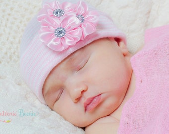 MORE COLORS!  newborn hospital hat girl newborn hat newborn girl hat hospital newborn hat her first bow infanteenie beanie baby hat