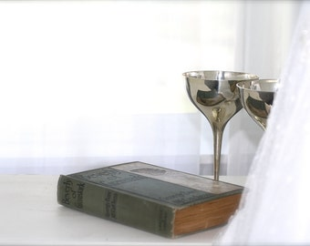 Wedding Bride Table Display Victorian Book Silver Champagne Goblets