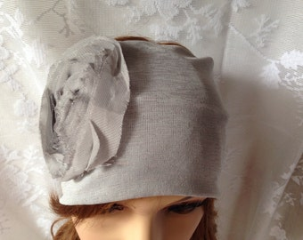 Women's Jersey Turban Hair Band Headband Head Wrap with Flower in Grey
