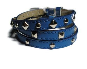 Wrap Bracelet - Leather Stud Bracelets - Royal Blue Leather Wristbands - Studded Royal Blue Bracelets - 3 Bracelets In 1