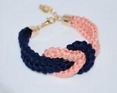 Nautical Knot Bracelet, Navy Cotton Rope Bracelet, Eco-fridendly Bracelet, Cotton Rope Bracelet, Navy & Apricot Bracelet