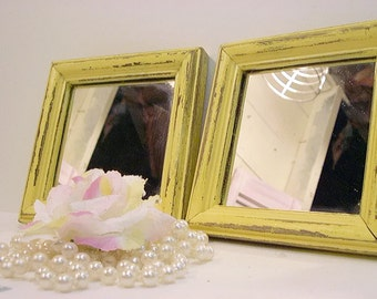 Set of Vintage Wood Mirrors Hand Painted and Distressed Soft Yellow