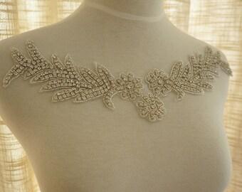rhinestone applique, beaded applique, wedding sash applique, bridal headband
