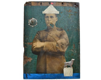 "FAITHFUL, 14"", an original collage, on reclaimed barn wood, nautical art, dog art, old photograph  by Elizabeth Rosen"
