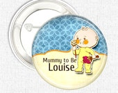 Personalised baby shower pinback button badge favour - baby boy 5 or 10 pack button badges